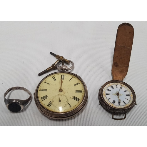 146 - A Finnish Silver Pocket Watch stamped L9 along with another silver pocket watch and a silver ring....