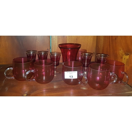 13 - A quantity of Cranberry Glass items....