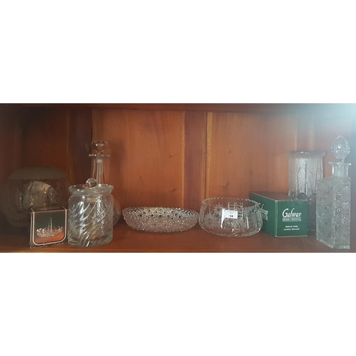 18 - A quantity of Irish and other Crystal and Glass on one shelf....