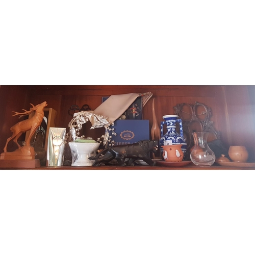 19 - A quantity of Items on one shelf to include a 19th Century timber photo Frame....