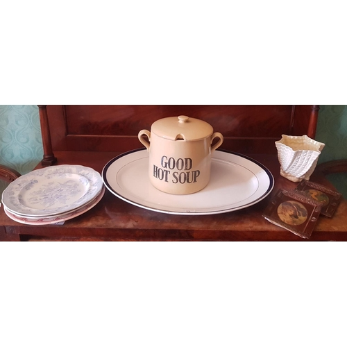 28 - A quantity of Items to include a 19th Century Meat Charger, Belleek etc....