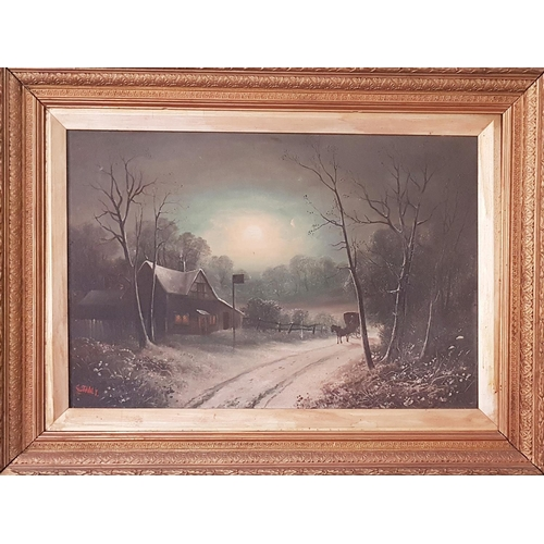 32 - A lovely pair of 19th Century Oils on Canvas of country scenes by moonlight by G. Stanley in Gilt fr...