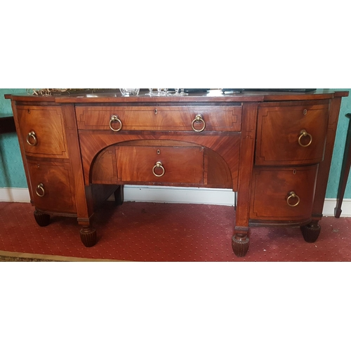 35 - A magnificent early 19th Century Sideboard with ebony string inlay, large brass ring handles and ree...