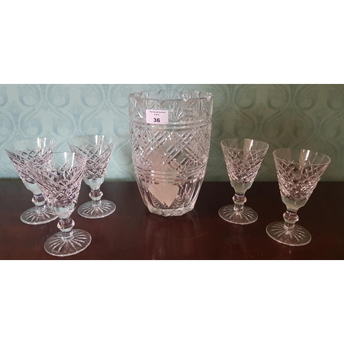 36 - A large Waterford Crystal Vase along with five Waterford Crystal Glasses....