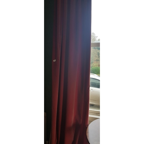 4 - A really good pair of Lined Velvet Curtains with a 19th Century ebonised pole and brass rings. 285cm...