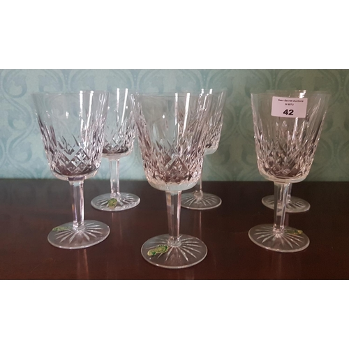 42 - A set of six Waterford Chrystal Lismore Pattern Red Wine Glasses....