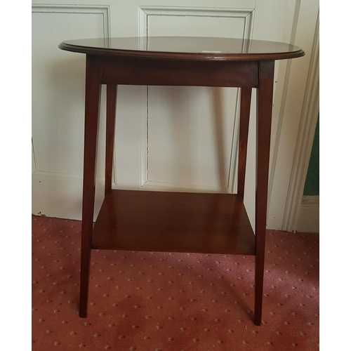 50 - An Edwardian Mahogany and Inlaid Oval Side Table. 56 L x 40 D x 70 H cm....