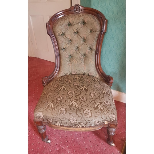 51 - A lovely 19th Century Mahogany show frame Ladies Chair with deep buttoned back....