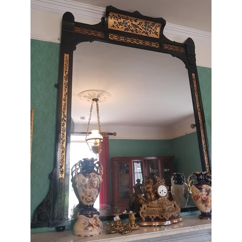 57 - A good late 19th Century - early 20th Century Ebonised and Gilt Overmantle Mirror. 164 W x 190 L cm....