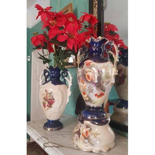 58 - Three good 19th Century Vases, one on a Stand....