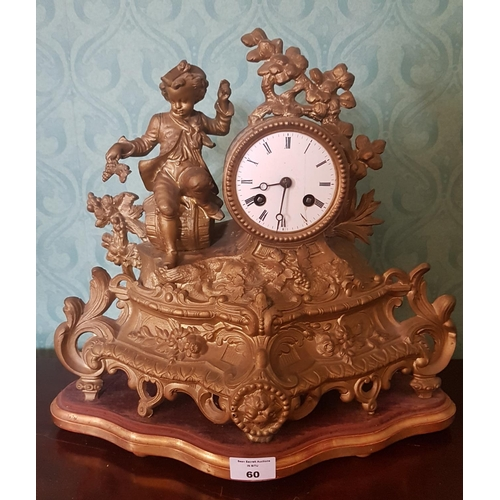 60 - A late 19th Century Mantle Clock....