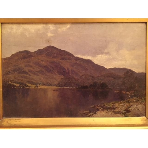 1 - William Young RSW. 1845-1916. Loch Achray. An Oil on Canvas. Signed LR and inscribed with title vers...