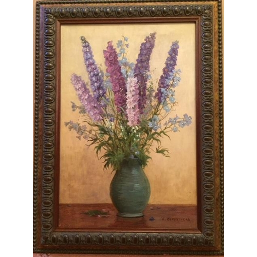 29 - William Affleck 1868-1943. A pair of Still Life of Flowers. Delphiniums and Lupins in blue vases. Oi...