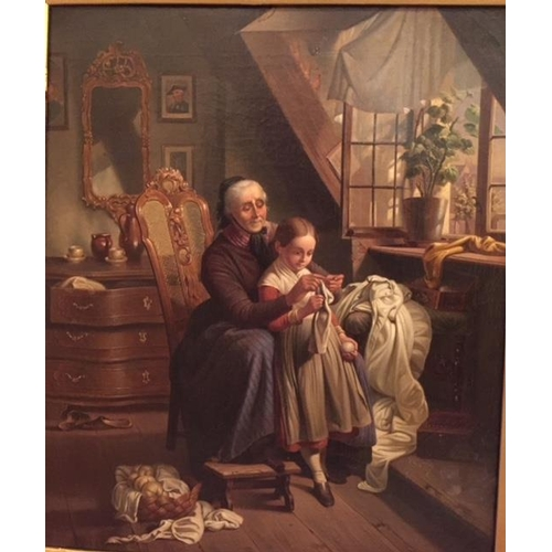 9 - An Oil on Canvas. 19th Century Continental school. Grandma's little helper. 46 x 38cm....