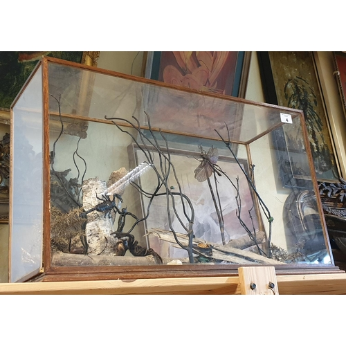 4 - A cased Taxidermy style prop of a Tarantula, Scorpion, Dragonflies etc. (1) (1)....
