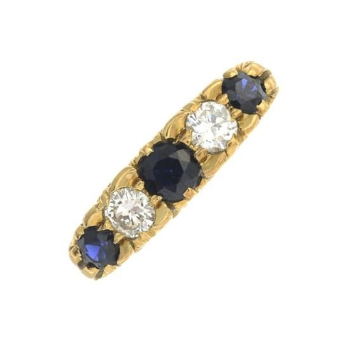 2 - A sapphire and diamond five-stone ring. Estimated total diamond weight 0.40ct, H-I colour, SI clarit...