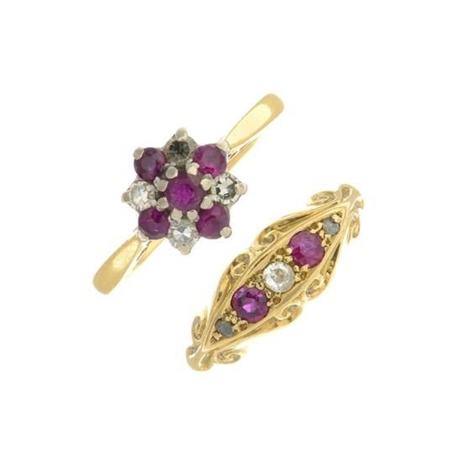 5 - An 18ct gold ruby and diamond five-stone ring, together with a ruby and diamond ring. Estimated tota...