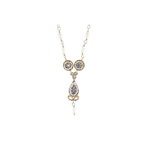 11 - A seed pearl and sapphire necklace. Designed as a seed pearl and circular-shape sapphire duo cluster...