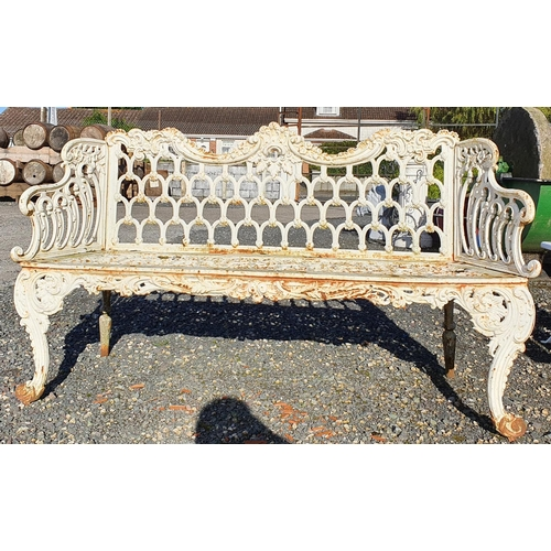 40 - A 19th Century Cast Iron Bench with horse shoe decoration....