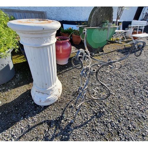 45 - A Metal Garden Stand along with a columned plaster Pillar....