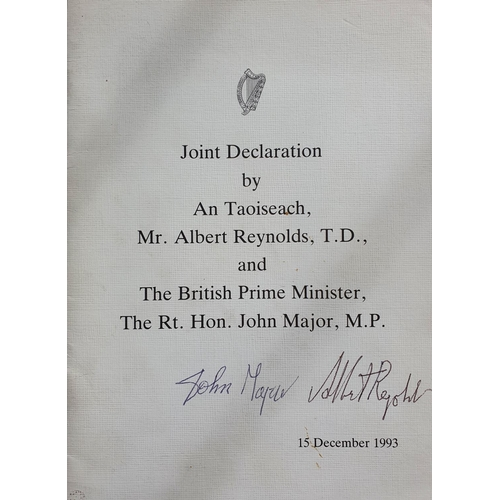 569 - 1993 JOINT DECLARATION BY AN TAOISEACH, ALBERT REYNOLDS, AND THE BRITISH PRIME MINISTER, JOHN MAJOR,...