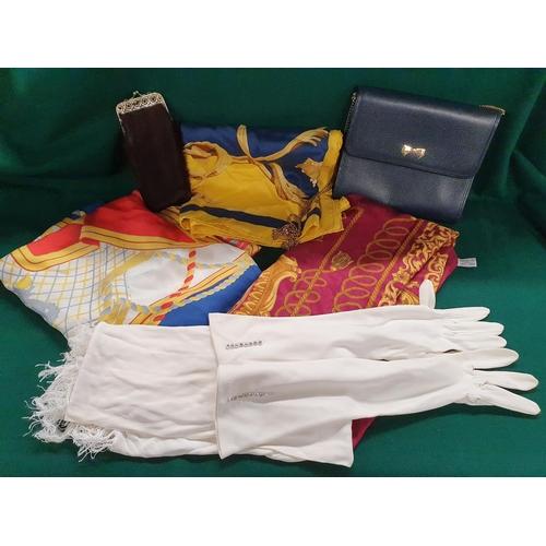 11 - A quantity of vintage Scarves along with a Nina Ricci of Paris Handbag....