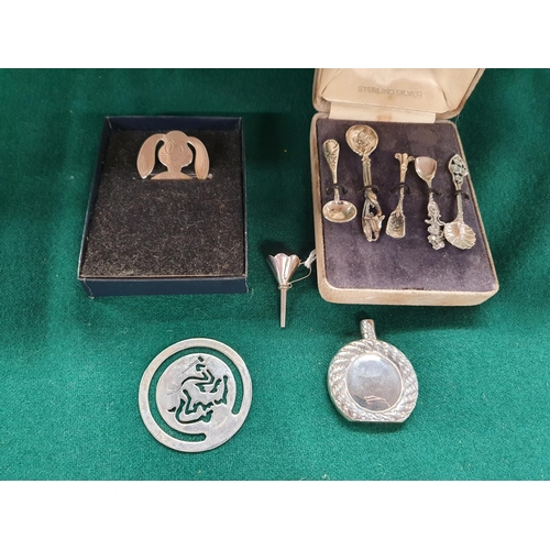 15 - A collection of Silver items to include a Silver perfume Flask, miniture Funnell along with a set of...