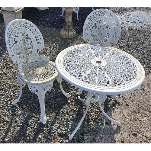 27 - A Metal circular Tea for Two garden Seat with pierced outline....