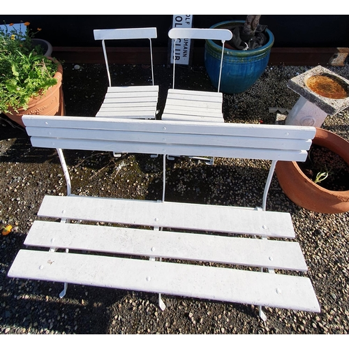 34 - A nice set of Timber and Metal Garden Seats....