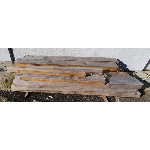 52 - A good quantity of as new Sleepers in the rough state along with seven fence posts....