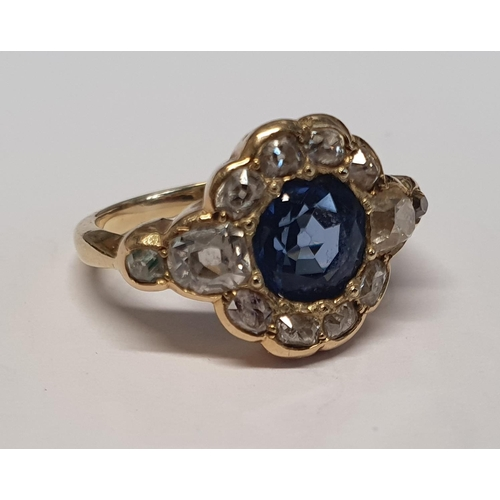 14 - A really good late Victorian Sapphire and Diamond cluster Ring set in gold. Approx Diamond weight 1....