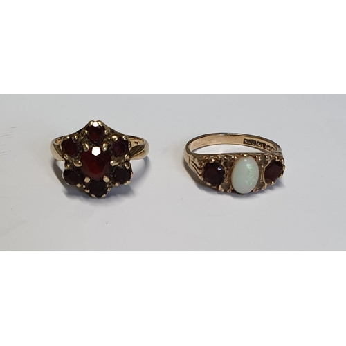 10 - Two 9ct Gold Garnet Rings.Size M & M1/2....