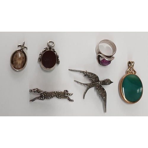 12 - A 9ct Gold and Stone Pendant ,Silver Ring,two Silver Fobs along with two Silver animal Brooches....