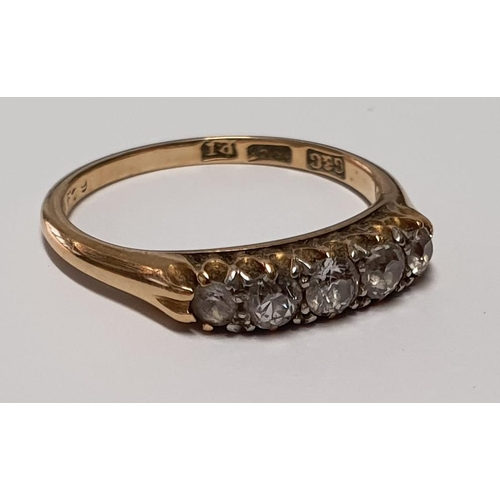 3 - An 18ct Gold and Diamond five stone Ring.Size M....