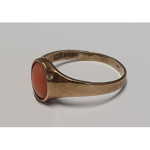 6 - A 9ct Gold and Coral Ring .Size P....