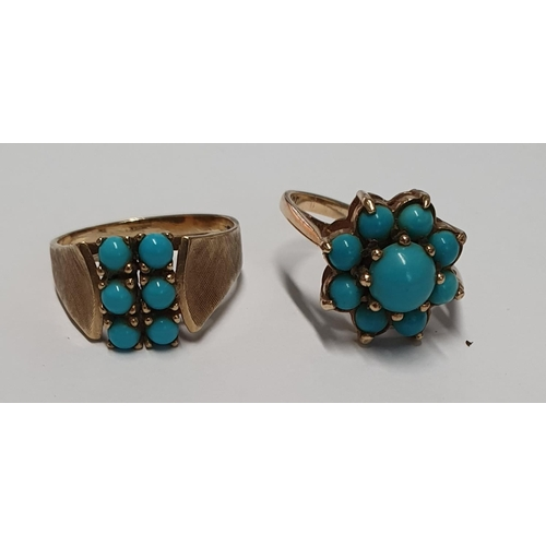 7 - Two turquoise stone 9ct Rings both size L 1/2....