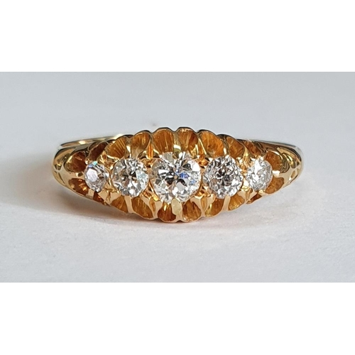 1004 - An 18ct. Gold and Diamond 5 stone Ring. Size P½.