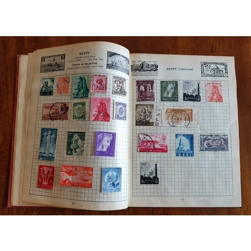 106 - A quantity of world Stamps in two albums along with a first limited edition of Poems of Strife by Ju...