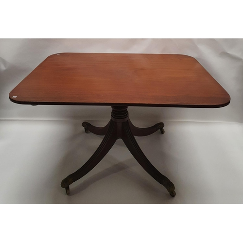 5 - A really good quality Regency Mahogany Breakfast Table with triple reeded top and pod on brass toe c...