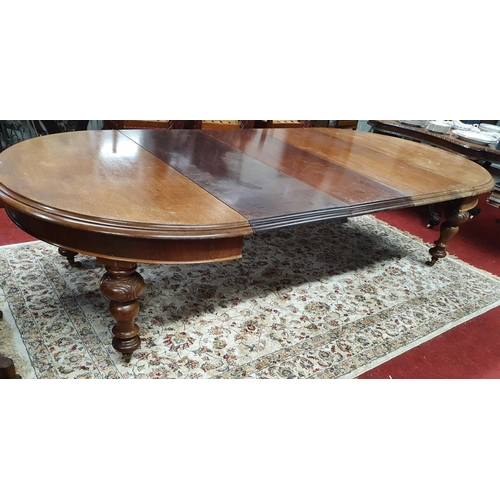 14 - A good 19th Century Mahogany three leaf D-End Dining Table with turned and carved supports.300 X 145...
