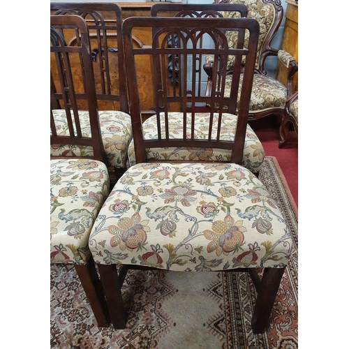 15 - A fantastic set of eight 19th Century Dining Chairs in the Early Georgian Style with lattice style b...