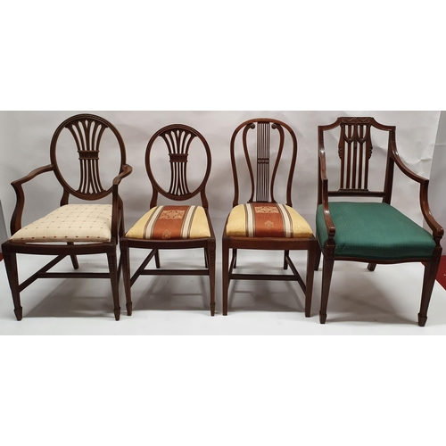 20 - A group of Hepplewhite Style Carvers along with single chairs.(x7)....