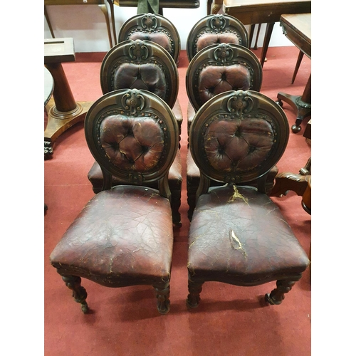 43 - A fabulous set of six 19th Century deep buttoned upholstered Mahogany Dining Chairs with burgundy le...