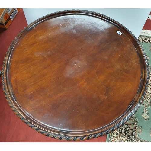 1 - A 19th Century Mahogany Tray Top Table with roped edge on tripod supports.D 87 X H 71 cms....
