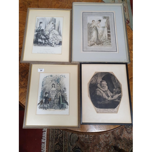 21 - Three 19th Century coloured engravings along with an 18th Century engraving....
