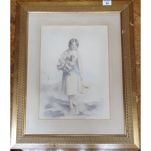 23 - A large 19th Century Pencil and Crayon of a young Colleen with a cockerel under her arm. 36 X 26 cms...