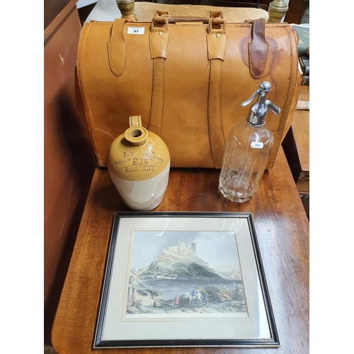 31 - A Vintage leather Doctors Bag, a Patrick Ryan Kilkenny, small stoneware flagon along with a Dublin m...