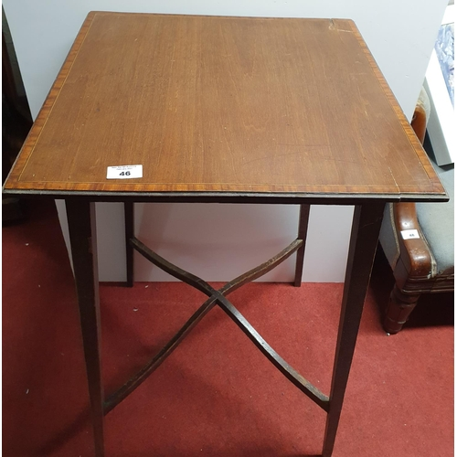 46 - An Edwardian Mahogany and inlaid Etagere            along with a square Table .(both in need of some...