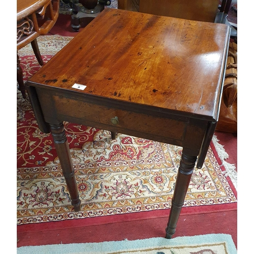 8 - A very neat Early 19th Century Mahogany Pembroke Table with turned supports and single drawer.W 59 X...