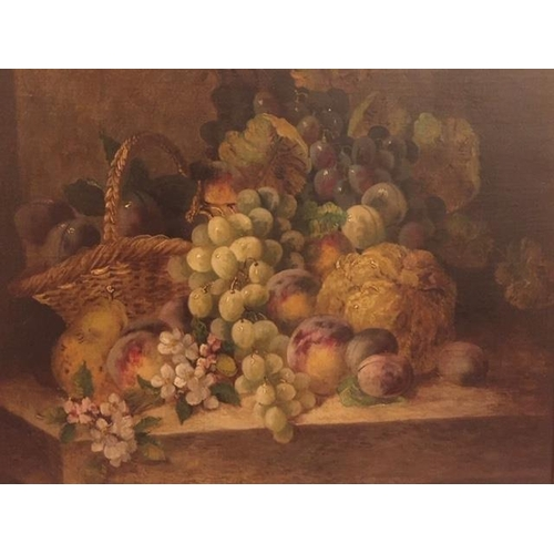 6 - A 19th Century Still Life with Fruit, a Basket and Flowers on a Table Top. Oil on Canvas. 61 x 51 cm...